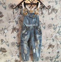 Denim-Worn-Out-Romper-Clothing