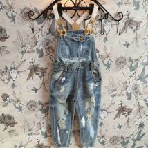 Denim-Worn-Out-Romper-Clothing